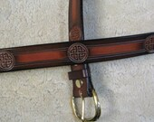 Hand tooled Leather Belt - B11084 - in Tan and Brown - Made-To-Order - Ships FREE to US addresses