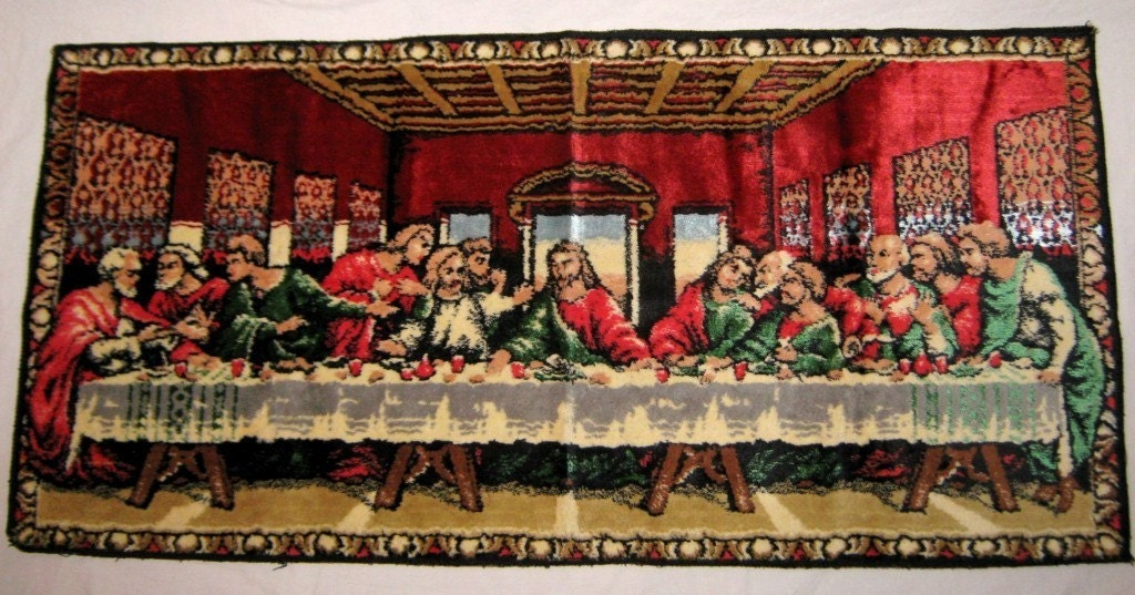 The Last Supper Tapestry Vintage Mid Century Italian Wall