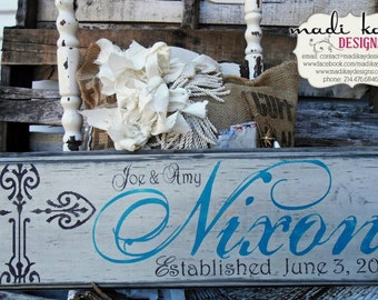 Personalized Wedding Gift on Wood or Canvas Cross, Personalized Bride Gift Vintage Wedding Sign, Personalized Family Name Sign