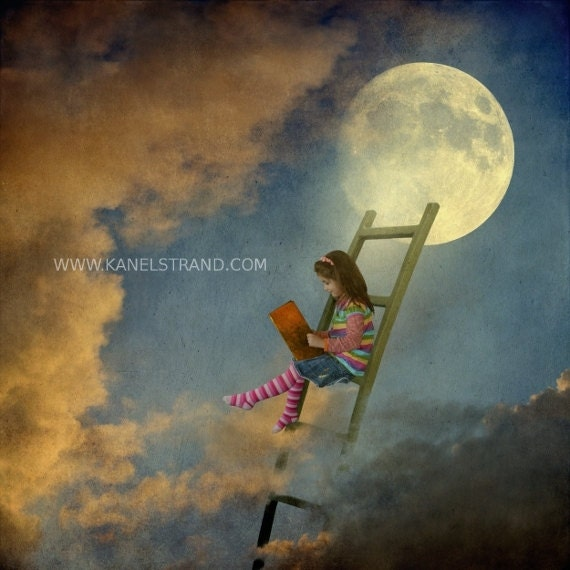 Surreal Moon Art Fantasy Picture Learning To Fly By