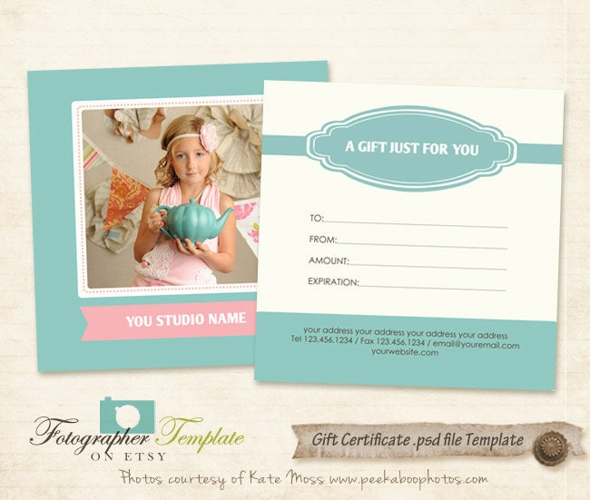 Gift Certificate Card Template Photography Templates G