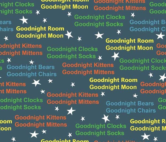 Goodnight Bunny Words On Dark Blue Fabric By Quilting