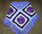Girls Hippie Style Poncho  Purple with Shades of Purple Sizes Baby-12Years Hippie Style