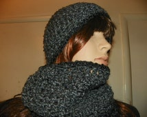 Black on Gray Scarf and Hat Set Hand Crochet Unisex For a Teen or Adult