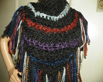 Beautiful Black with Rustic Colors Shawl Wrap  Neck Warmer  Perfect for the Holidays Hand Cochet
