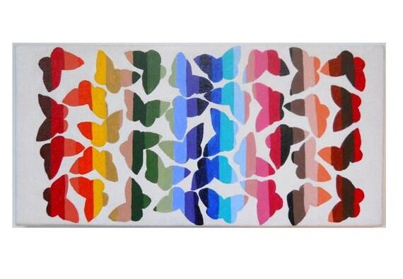 Butterflies 6x12 rainbow painting