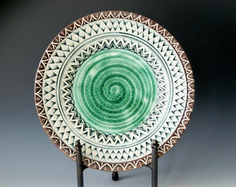 Pottery Serving Platter with Intricate Detailed Texture and Design, Handmade Wheel-Thrown Ceramic Stoneware...MADE TO ORDER
