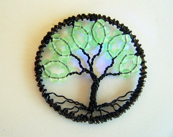 Green Lantern Tree of Life Beads Gl ow under Black Light Keychain