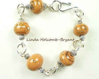 Silver Bracelet of Caramel Lampwork Beads