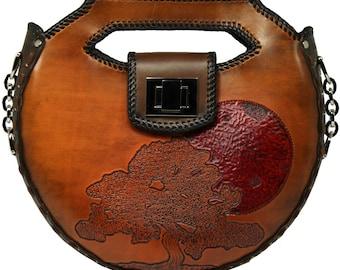 Tooled Leather Handbag - Discovery