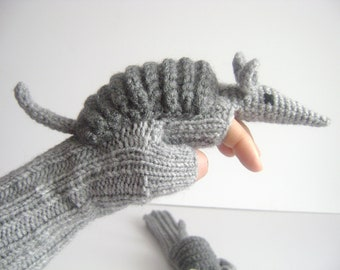 Last minute discount // Original Design Cute Armadillos  gloves, fingerless gloves ,children clothing, gift, birthday
