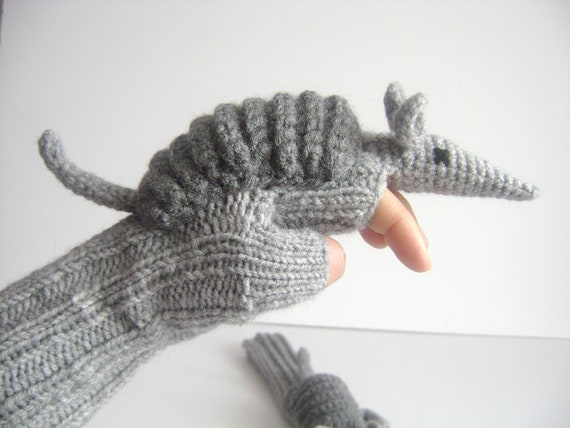 Original Design Cute Armadillos  gloves,long fingerless gloves, Halloween ,costume,  kids, children clothing, gift, birthday, boy, girl
