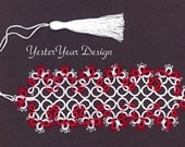 Tatted Lace Bookmark by Jan - Peppermint Flowers