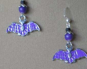 Black and Purple Enamel Bat Earrings