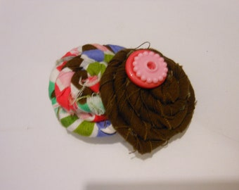 25% off- Brown and Pink Fabric Hair Bow