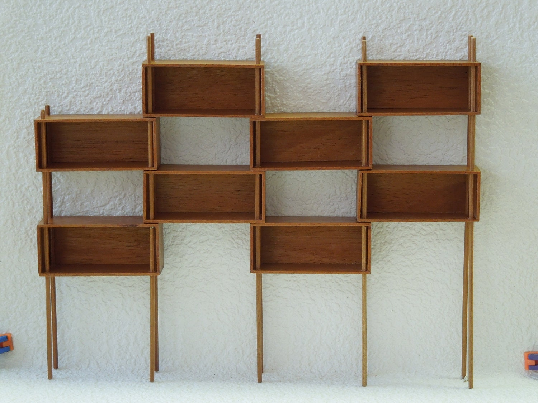 Mid Century Modern Miniature Modular Shelf Unit Room by minisx2