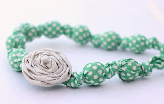 Mint Green & Gray Beaded Rosette Necklace