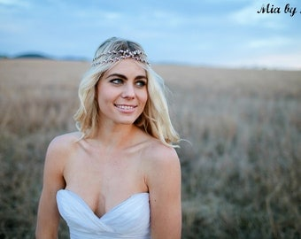 Wedding Headpiece Bridal Headpiece Weddings Hair Jewelry Pearl Headpiece Head Jewellery Boho Wedding Beach Wedding Headpiece Headband - Mia