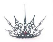 Red Gothique 2.0 - Black Crown Black Tiara Filigree Tiara Gothic Tiara Evil Queen Costume Queen of Hearts Crown Red Queen Tiara