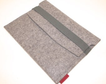 iPad Wool Felt Sleeve/Case in Granite with Elastic Trim Side Load