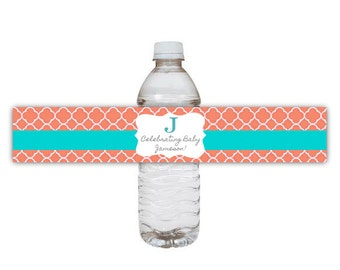 Coral & Aqua Printable Water Bottle Labels - Baby or Wedding Shower