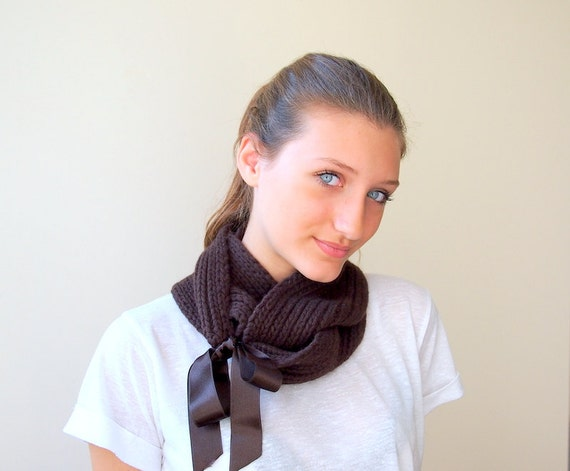 Infinity loop wrap scarf - brown chocolate earth tones knit r satin ribbon