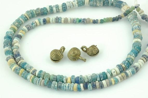 Djenne Beads from Mali, Africa.  Roman Glass Beads, Beautiful Graduated Antique Strand.  4x2-10x4mm