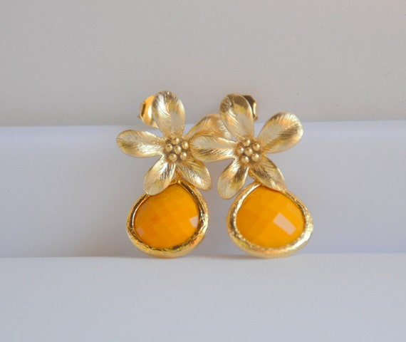 Mustard Yellow Teardrop and Gold Flower Post Earrings Jewelry Gift for Her.  Free Shipping.
