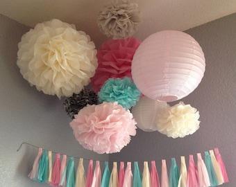 Tassel Garland Tissue Paper - Wedding Decoration - Nursery Child's room Decoration - Paper Decoration