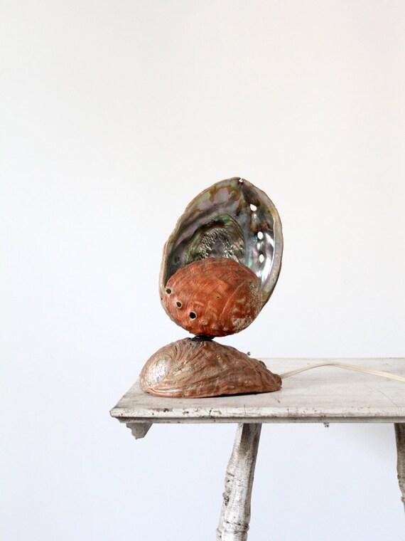Vintage Shell Lamp / Abalone Seashell Lamp