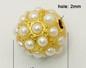 1 pc Golden  Pearl Round Beads - 10mm