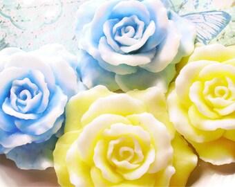 ROSE FLOWER SOAP, Teacher Gift Set Rose Gift Set, Blue and Yellow Roses, Flower Soaps, Custom Scented, Handmade, Vegetable based