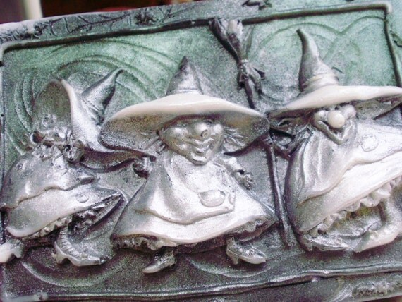 HALLOWEEN WITCH SOAP, Three Silly Witches, Halloween Soap, Raven Wing and Black Shimmer, Scented in Harvest Moon, Handmade, Vegan Friendly