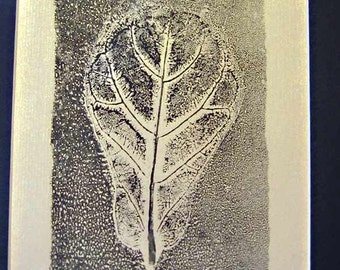 "The ""Fiddleleaf Fig"" Botanical print, leaf print, tropical decor, one of a kind, monotype, 11""  by 14"", tropical leaf"