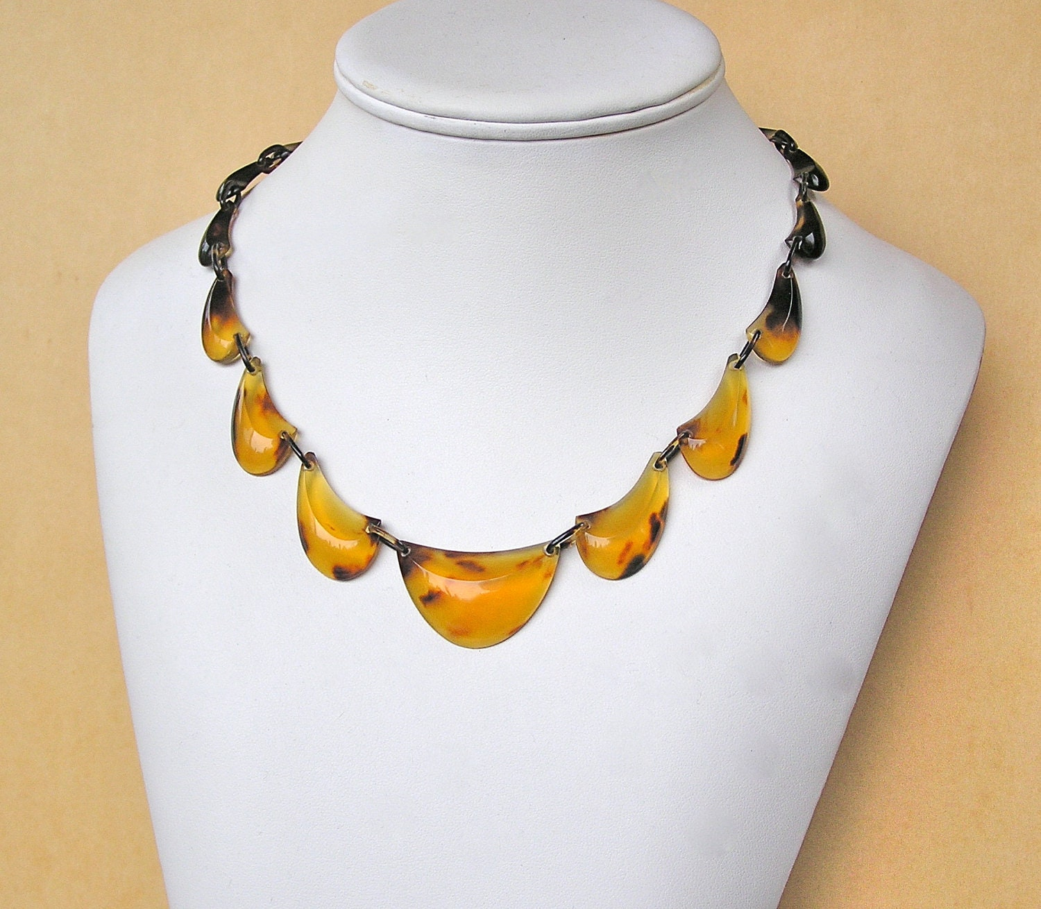 Vintage carved genuine tortoise shell necklace for Real tortoise shell jewelry