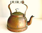 Vintage Copper Teapot with Blue & White Porcelain Handle - Cottage Farmhouse - Shabby Chic