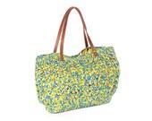 mixed color- Green summer Handbag - Shoulder bag with Genuine Leather Straps