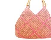 Rose Beige Stockinette Stitch HandBag-crochet bag-hand bag-hand made-