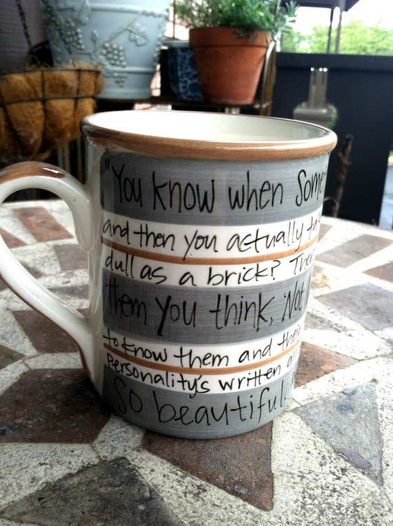 """Doctor Who """"Something so beautiful"""" - Amy Pond quote - Large, grey and brown striped mug - Repurposed"""