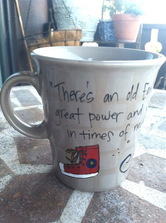 "Doctor Who ""Allons-y"" Tenth Doctor Quote Mug - Small, brown mug - Hand painted with red converse trainer"