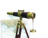 Vintage Telescope with Tripod Nautical Telescopes Brass Spyglass Wood Leather - OceansideCastle