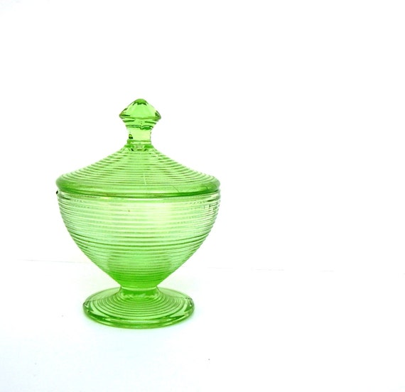Vintage Glass Sugar bowl Compote Lime Green Pinnicle Lid 1940s