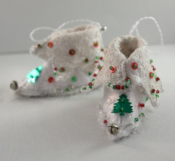 fairy shoes Elf Boot Christmas Ornament Snow White Tree Fairy christmas tree Candy Cane holiday decor