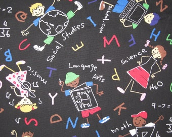 "Michael Miller Chalk Art Back to School  fabric  39"" X 36"""