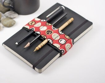 Journal Bandolier // red type // (a better pencil case, journal pen holder, book strap, pen loop, pencil roll, pen bandolier)