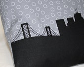 San Francisco City Skyline Pillow, Black Silhouette, 14x14, Blue/Gray Fabric, Ready to ship Gift