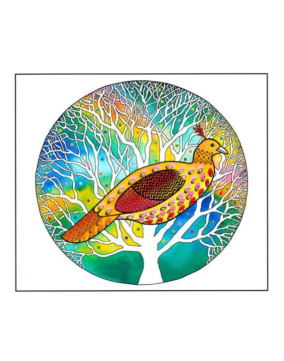 "10"" x 8"" Art Print, Bird Painting, Bird illustration, Watercolour print, Golden Bird, Tree art,  Folk Art, Home Decor,  Multicolored art,"