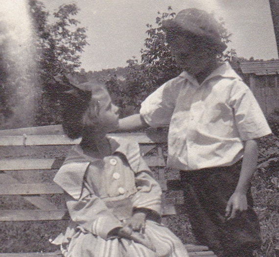 Precious Moments- Brother and SIster- 1910s Vintage Photograph
