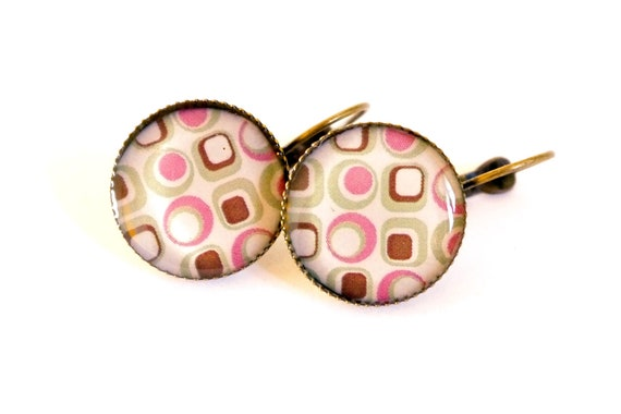 minimal earrings, seventies style,circles, free shipping, pink geometry