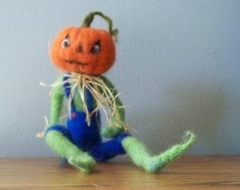 Jack O Lantern  doll   needle felted